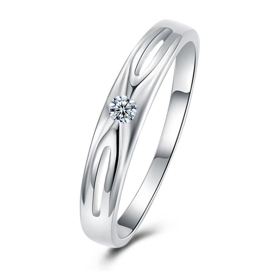 0.4*0.2cm 18K White Gold Plated  Swarovski Criss-Cross Ring - Rewards Bonanza