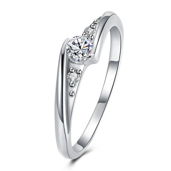 0.6*0.2cm 18K White Gold Plated  Swarovski Elements Curved Ring - Rewards Bonanza