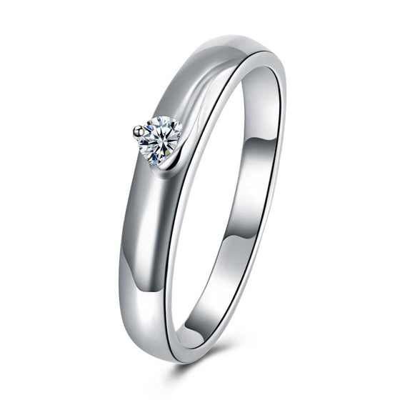 18K White Gold Plated  Single Stone Swarovski Solitare Ring - Rewards Bonanza