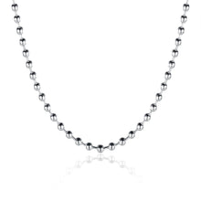 18K White Gold Plated  Mini Beaded Ball Chain Necklace - Rewards Bonanza