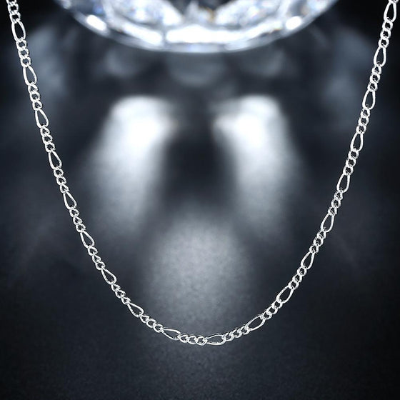 2MM 18K White Gold Plated Cuban Figaro Chain Necklace - Rewards Bonanza