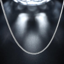 2MM 18K White Gold Plated Classic Curb Chain Necklace - Rewards Bonanza