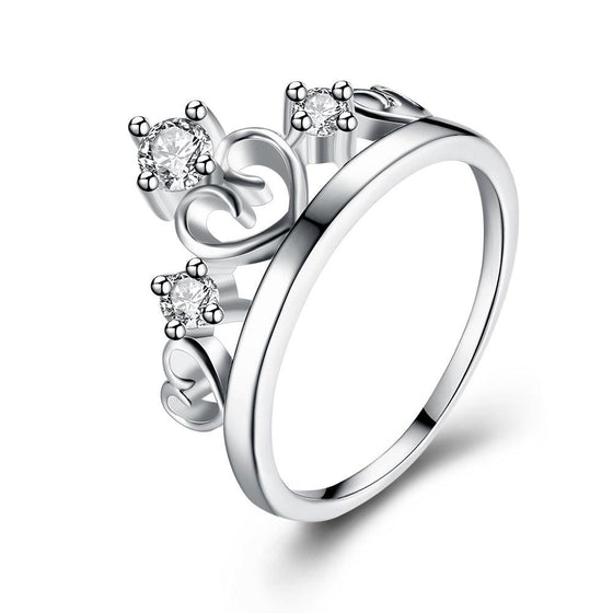 Swarovski Elements Crown Design Ring in 18K White Gold - Rewards Bonanza