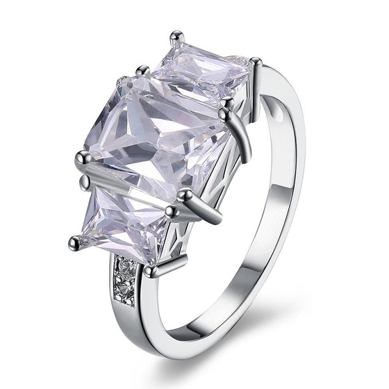 White Sapphire Multi Emerald Cut Cocktail Ring - Rewards Bonanza