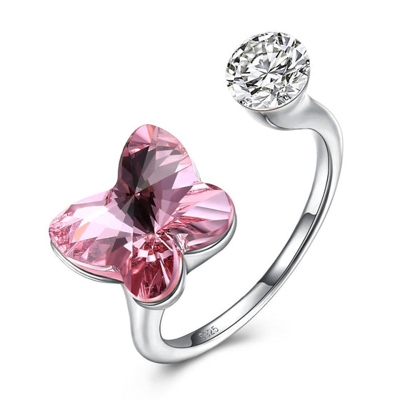 Pink Sapphire Butterfly Shaped Adjustable Ring - Rewards Bonanza