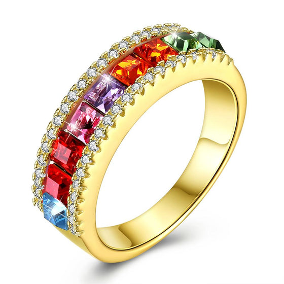 Sterling Silver Rainbow Swarovski Ring - Rewards Bonanza