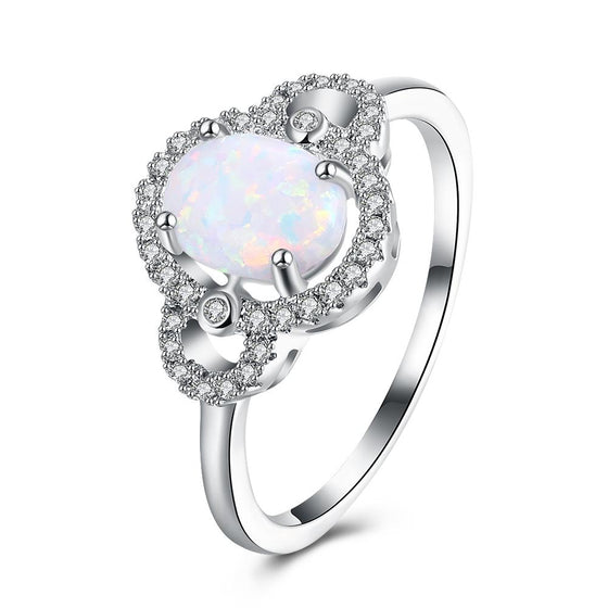 4.50 CTTW Oceanic Opal Pav'e Circular Classic Ring in 18K White Gold - Rewards Bonanza