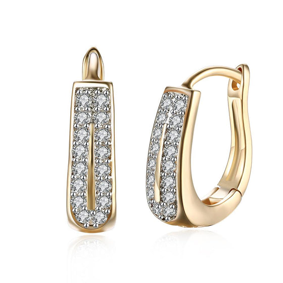 Swarovski Elements Harp Shaped Earrings in 14K Gold - Rewards Bonanza