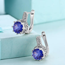 18K White Gold Plated Pav'e Curved Simulated Sapphire Lever-back Earrings - Rewards Bonanza
