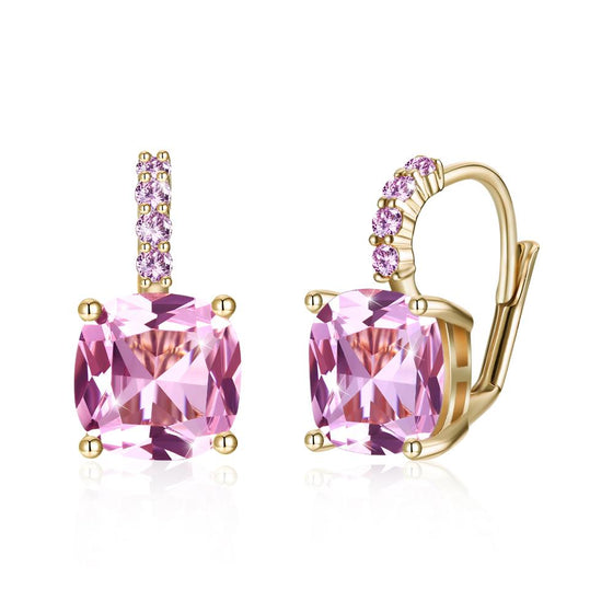 Pink Asscher Cut Swarovski Pav'e Leverback in 14K Gold - Rewards Bonanza