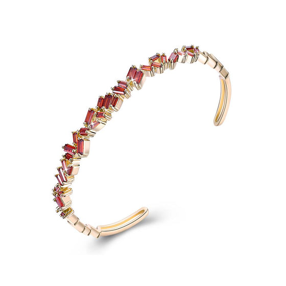 Assymetrical Baguette Cut Swarovski Elements Bangle- Red - Rewards Bonanza