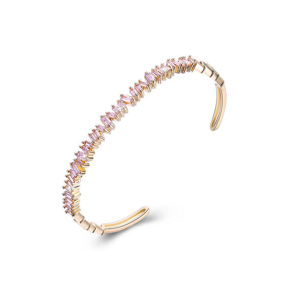 Sleek Emerald Cut Swarovski Open Bangle in 14K Gold - Pink - Rewards Bonanza