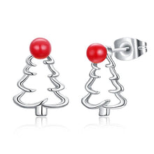 18K White Gold Plated Laser Cut Christmas Tree Stud Earring - Rewards Bonanza