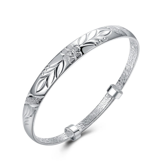Women's Silver Plated Floral Ingrain Design Bangle - Rewards Bonanza