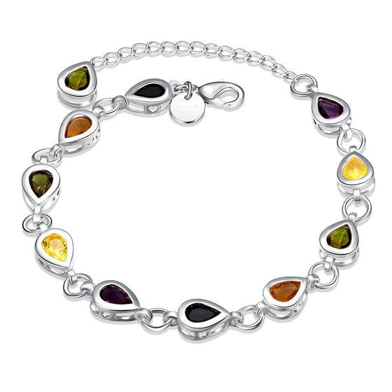 Rainbow Swarovski Pear Cut Bracelet in 18K White Gold - Rewards Bonanza