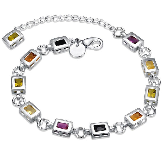 Rainbow Swarovski Square Cut Bracelet in 18K White Gold - Rewards Bonanza