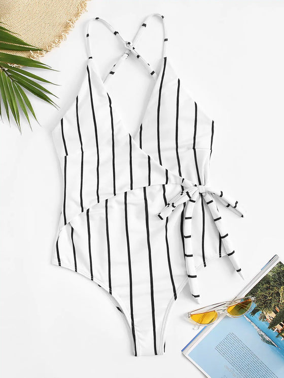 Stripe Cross Backless One-piece Swimsuit - Rewards Bonanza
