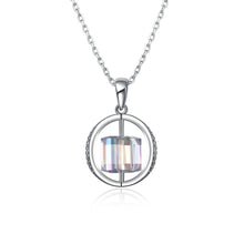 2.00 CT Aurora Borealis Swarovski Crystals Sterling Silver Flying Spinning Cube Necklace - Rewards Bonanza