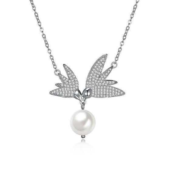 Pave  Swarovski Crystals Sterling Silver Flying Wings Pearl Necklace - Rewards Bonanza