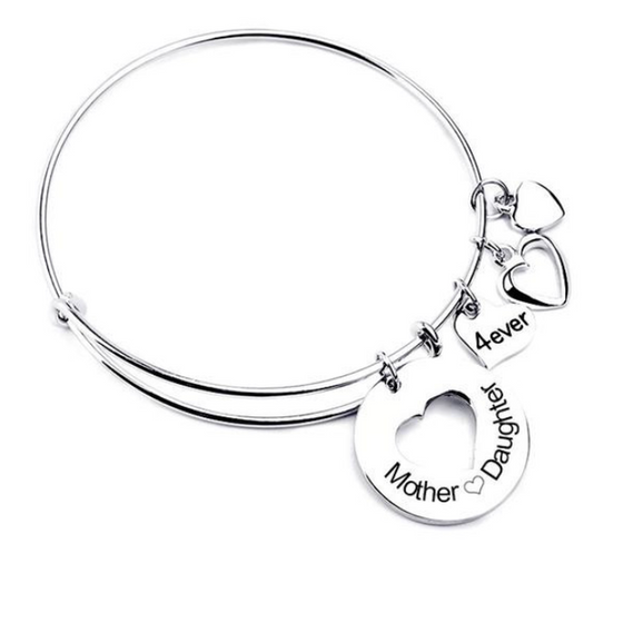 Mother Daughter Love Charm Bangle (Ships From USA) - Rewards Bonanza