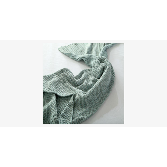 Cozy Cotton-Knit Mermaid Tail Blanket (Ships From USA) - Rewards Bonanza