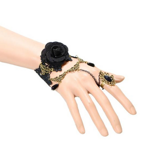 Dark Rose Ring-to-Wrist Bracelet  (Ships From USA) - Rewards Bonanza