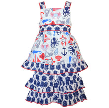Girls Nautical Sailor Seahorse Dress - Rewards Bonanza