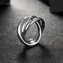 18k White Gold Plated Silver Stainless Steel Rolling Ring For Women - Rewards Bonanza