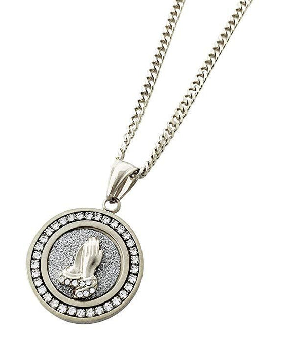 Pave Praying Hands Necklace Embellished Swarovski Crystals in 18K White Gold Plated - Rewards Bonanza
