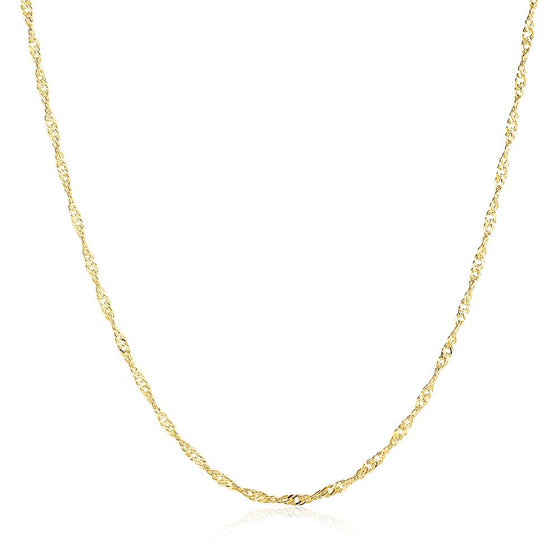 1.5MM*46CM 5CM 18K Gold Plated Twisted Singapore Chain Necklace - Rewards Bonanza