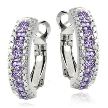 3.00 Ct Genuine Amethyst Leverback Earring Embellished Swarovski Crystals in 18K White Gold Plated - Rewards Bonanza