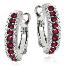 3.00 Ct Genuine Ruby Leverback Earring Embellished Swarovski Crystals in 18K White Gold Plated - Rewards Bonanza