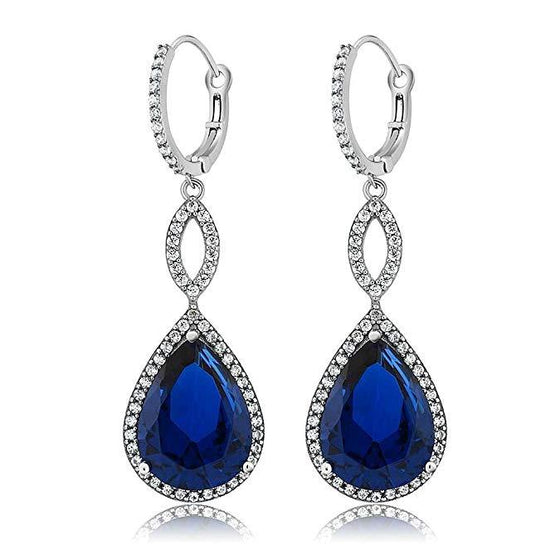 Sapphire Pave Teardrop Infinity Drop Embellished Swarovski Crystals in 18K White Gold Plated - Rewards Bonanza