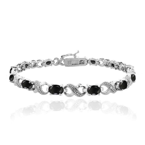 10.00 CT Genuine Black Onyx Infinity Bracelet Embellished Swarovski Crystals in 18K White Gold Plated - Rewards Bonanza