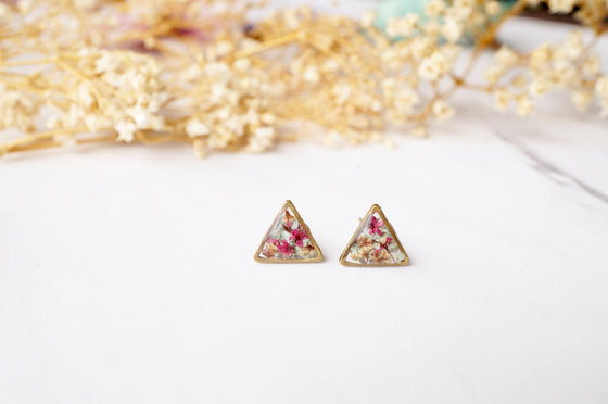 Real Pressed Flowers Resin Triangle Stud Earrings in Baby Blue Magenta White - Rewards Bonanza