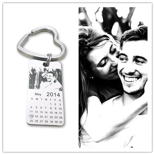 1 pc personalized photo calendar keychain love date gift stainless steel souvenir   keychain Tag 20mm X 40mm - Rewards Bonanza