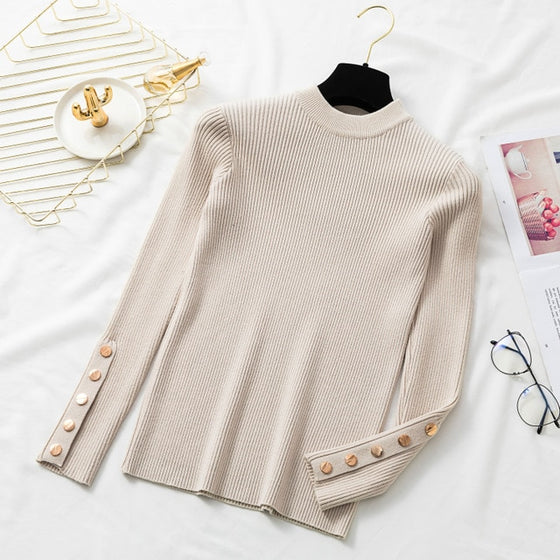 Autumn Women Long Sleeve Pure Slim Sweater Winter Knitted Turtleneck Casual Cashmere Pullover Metal Buttons Split Cuff Basic Top - Rewards Bonanza