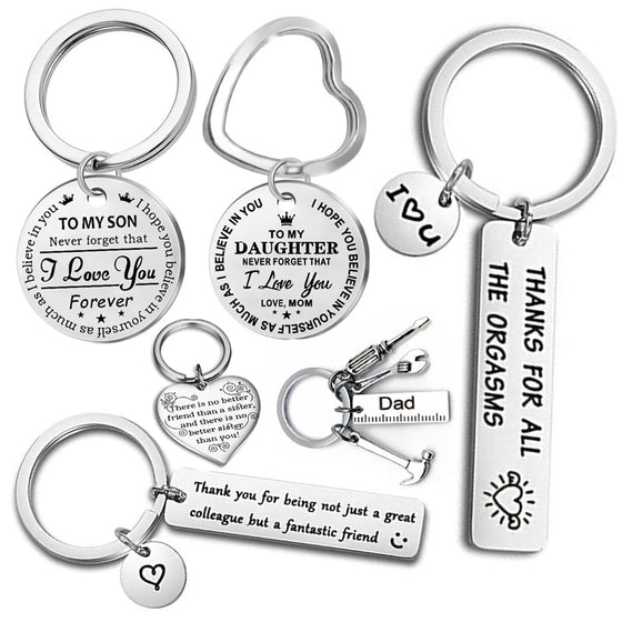 Fashion Keyring Drive Safe Name Stainless Steel Keychain Couples Key Rings Women Men Friend Family Key Chain Pendant Jewelry - Rewards Bonanza