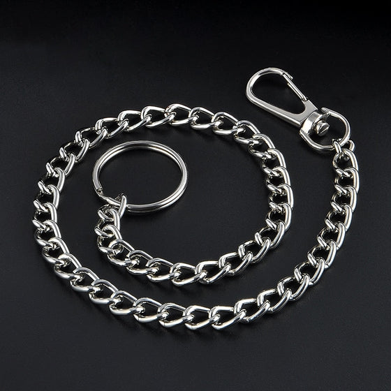 High Quality 38cm Long Metal Keyring Keychain Silver Chain Hipster Pant Jean Key Wallet Belt Ring Clip Men's HipHop Jewelry - Rewards Bonanza