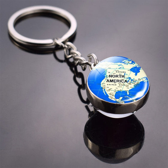 Vintage World Map Keychain Globe Earth Pendant Key Chain Americas Europe Australia Map Keychain Keyfob Christmas Gifts - Rewards Bonanza
