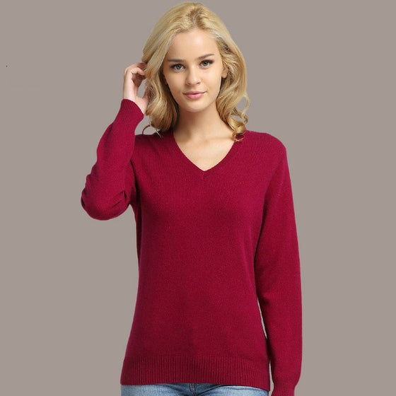 JVEII Women Sweater Knitted Female Long Sleeve V-neck Cashmere Sweater Pullover Female Autumn Winter Slim Jumpers Casual - Rewards Bonanza