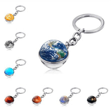 2019 Solar System Planet Keyring Galaxy Nebula Space Keychain Moon Earth Sun Mars Art Picture Double Side Glass Ball Key Chain - Rewards Bonanza