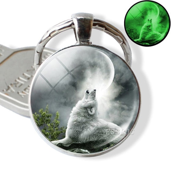 Glow In The Dark Wolf Key Chain Key Rings Holder Luminous Wolf Head Keychain Men Jewelry Gift - Rewards Bonanza