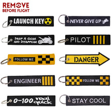 REMOVE BEFORE FLIGHT Novelty Keychain Launch Key Chain Bijoux Keychains Motorcycles Cars Key Tag New Embroidery Key Fobs - Rewards Bonanza