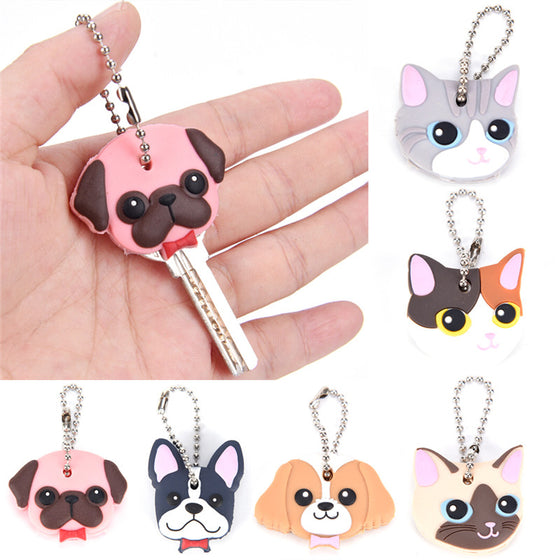 1 Pc Silicone Key Ring Cap Head Cover Keychain Case Shell Cat Hamster Shih Tzu Pug Dog Animals Shape Lovely Jewelry Gift - Rewards Bonanza
