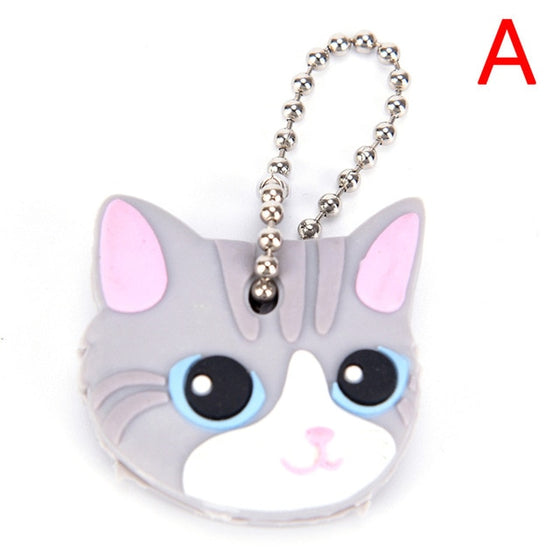 1 Piece Silicone Key Ring Cap Head Cover Keychain Case Shell Cat Hamster Shih Tzu Pug Dog Animals Shape Lovely Jewelry Gift - Rewards Bonanza
