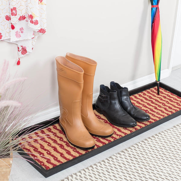 Boot Tray - Tan/Maroon (009)