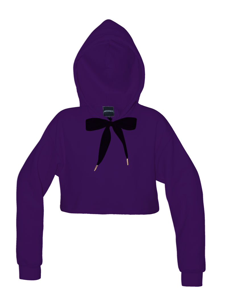 Bow Hoodie in Purple with Black - streetwear - Untitled&Co