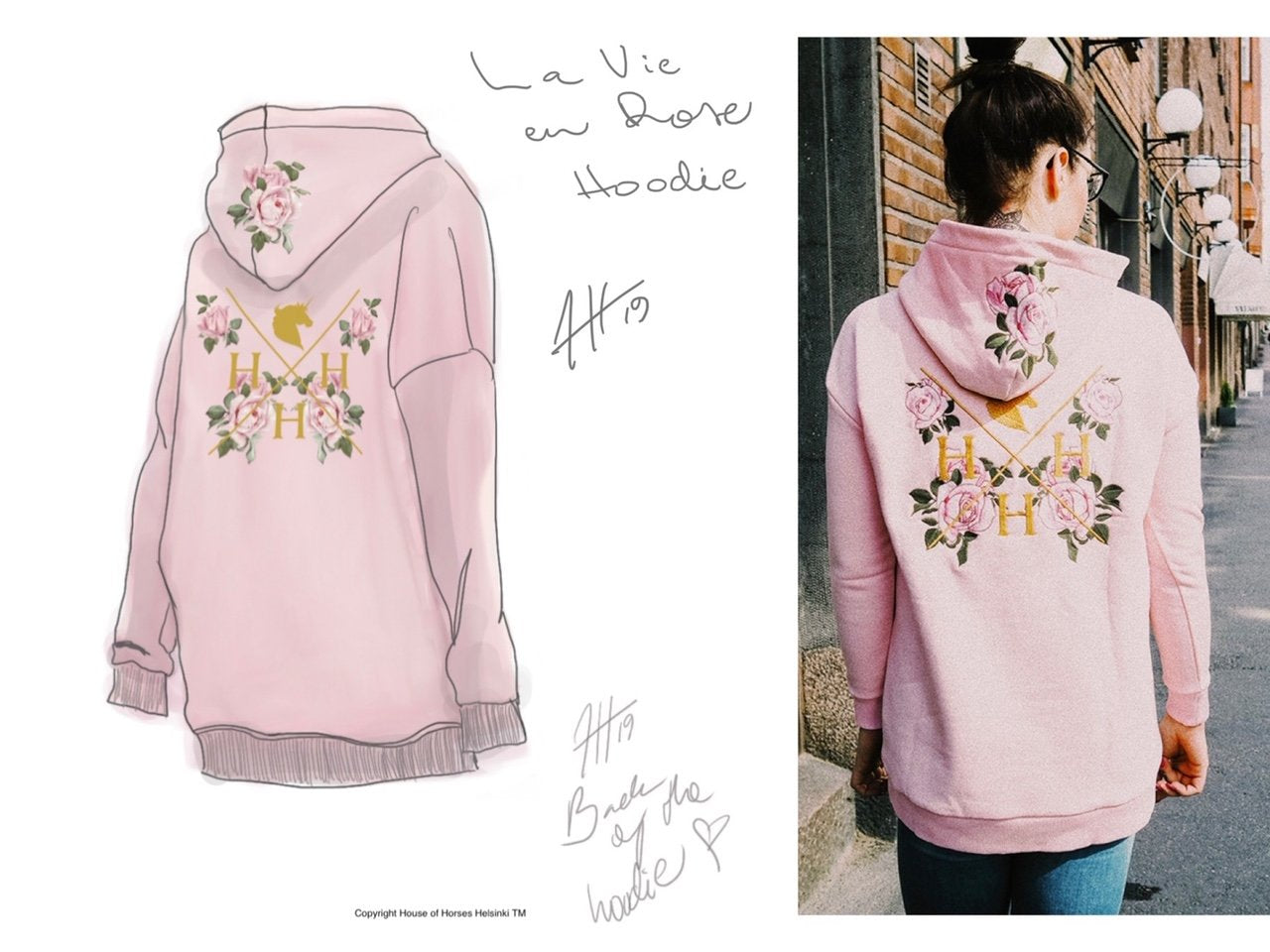 The design process of La Vie en Rose Hoodie