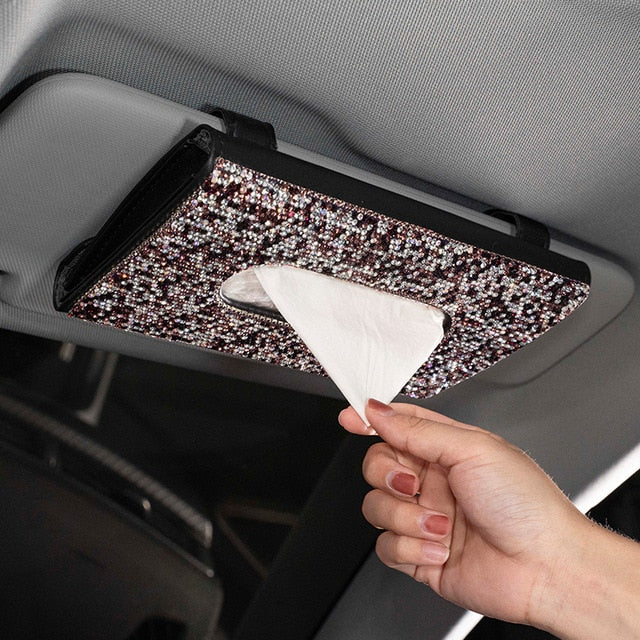 Car Visor Tissue Holder Hanging Leather Crystals Rhinestone Paper Towel Cover Case